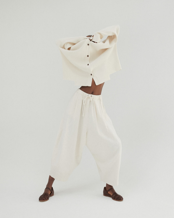 Monica Cordera Drawstring Ramie Pants