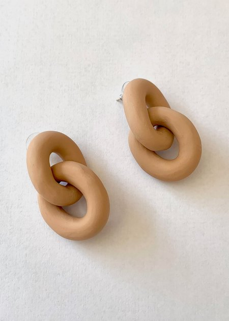 Sea + Pattern Coil Earrings - Desert Sand