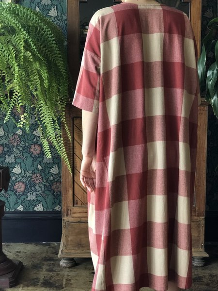 Ali Golden Full Dress with Pockets - Gingham