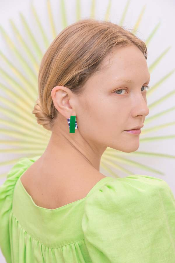 Matter Matters Double Rec Earrings - Snow Green