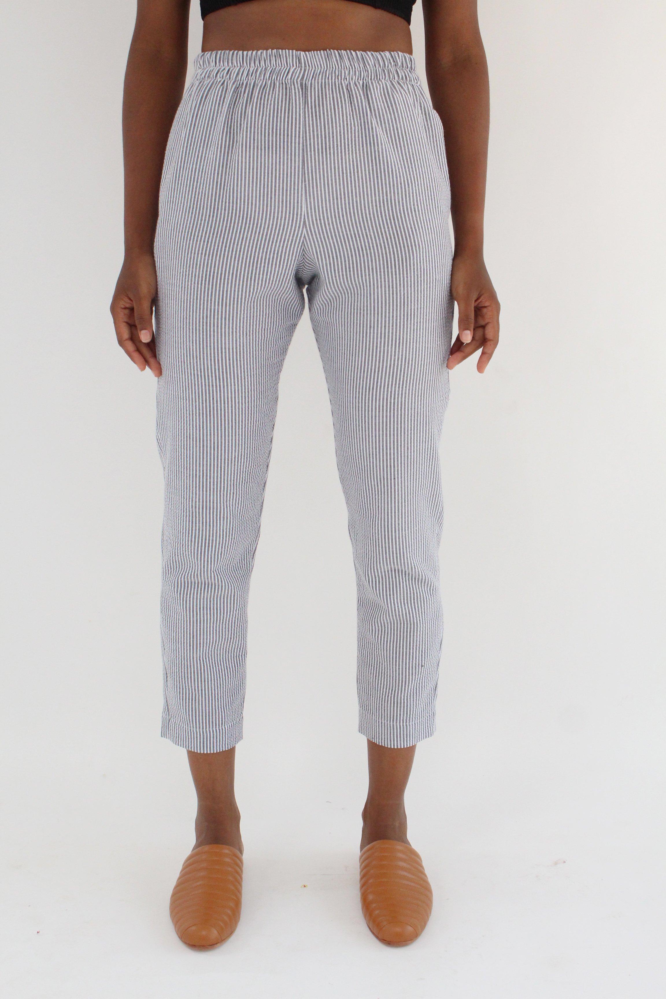 Beklina Basic Seersucker Pant Charcoal Garmentory