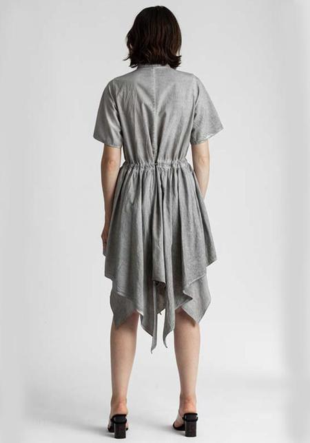 Venia Cosette Layered Shirt Dress With Metal Tie Bar - Dust
