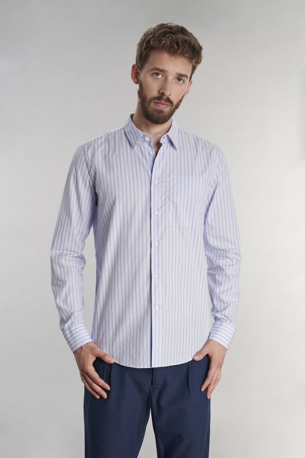 Delikatessen Feel Good Cotton Shirt - Blue Striped