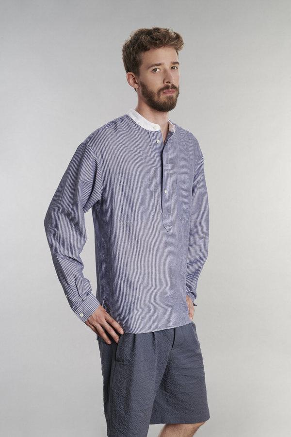 Delikatessen Cotton/Linen Seersucker Pop-Over Shirt - Blue Stripe