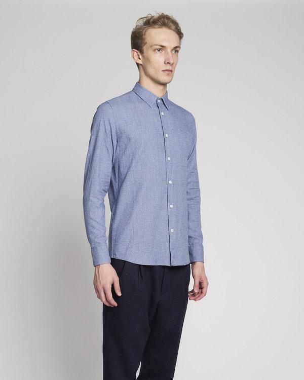 Delikatessen Feel Good Mouliné Cotton Shirt - Blue