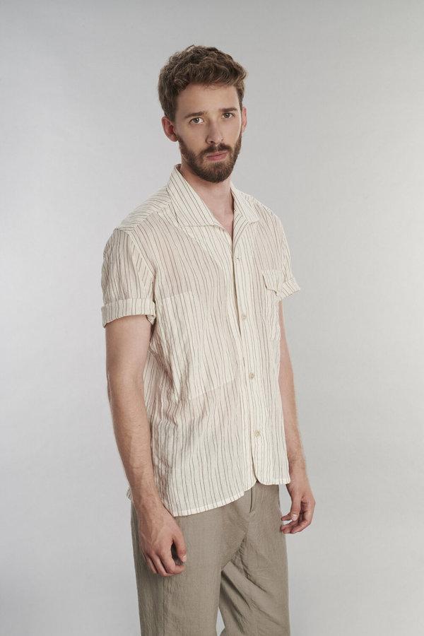 Delikatessen Short Sleeve Japanese Striped Cotton Shirt