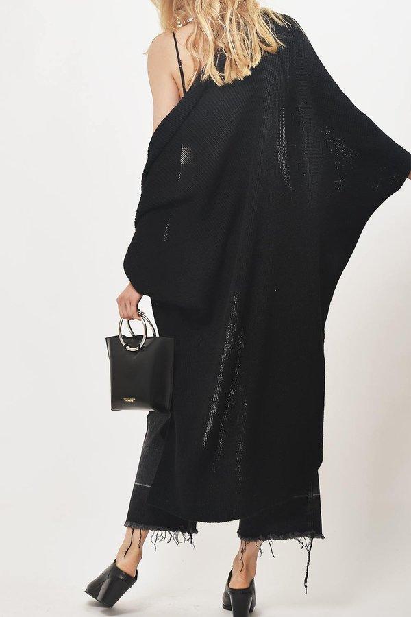 Primary New York Alpaca Convertible Knit Shawl - Black