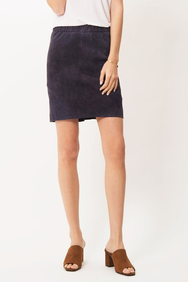Just Female Amy Suede Skirt - Navy