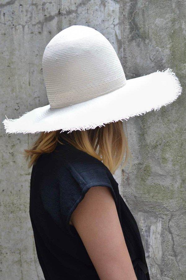 Esenshel Hats Arlene Raw Edge Hat - White