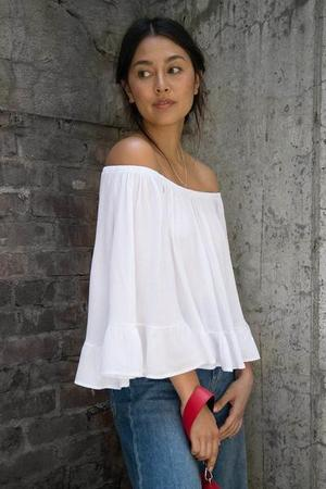 Primary New York Coby Cold Shoulder Ruffle Top