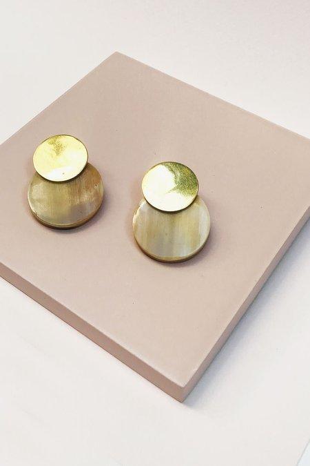 SOKO Contrast Coin Dot Earrings - Gold