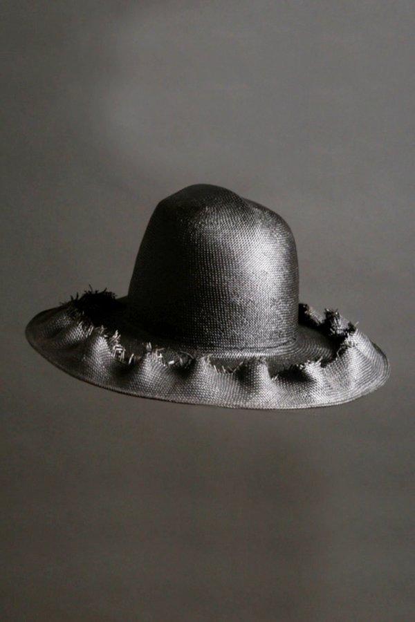 Esenshel Dome Ruffle Wide Brim Hat - Black