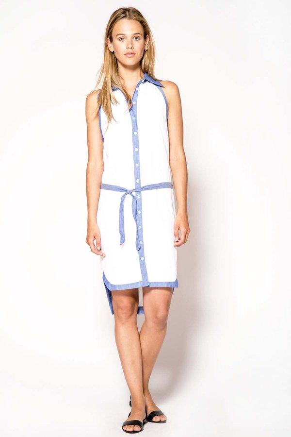 Primary New York ISA Halter Shirt Dress - white/chambray