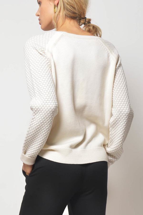 Primary New York Merino Crewneck Sweater - Cream/Grey
