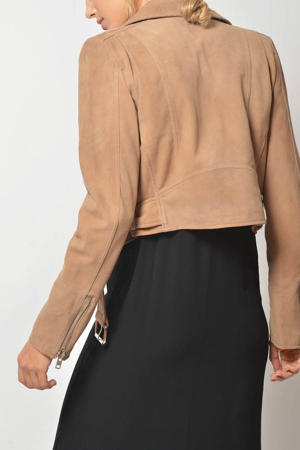 Primary New York x LOOKAST Cropped Suede Moto Jacket - taupe
