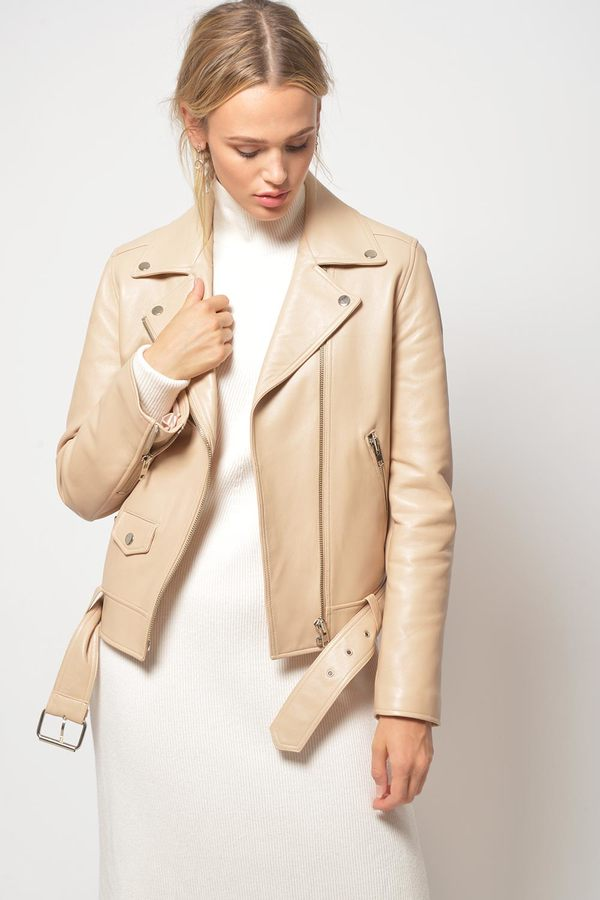 Primary New York x LOOKAST Full Length Leather Moto Jacket - Nude