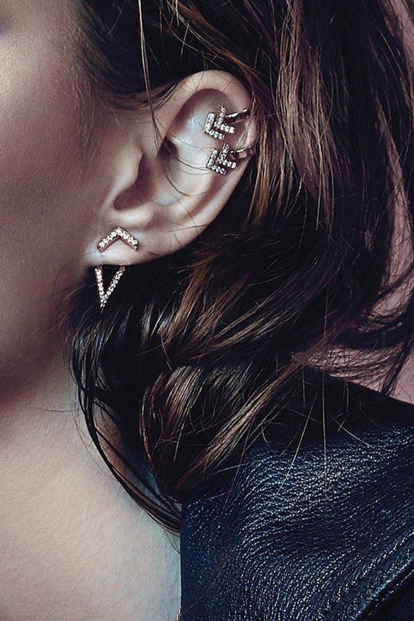 Primary X Carbon & Hyde Chevron Single Ear Cuff