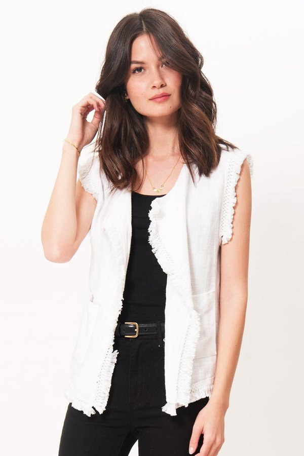 Primary New York Rhodes Fringe Vest - White