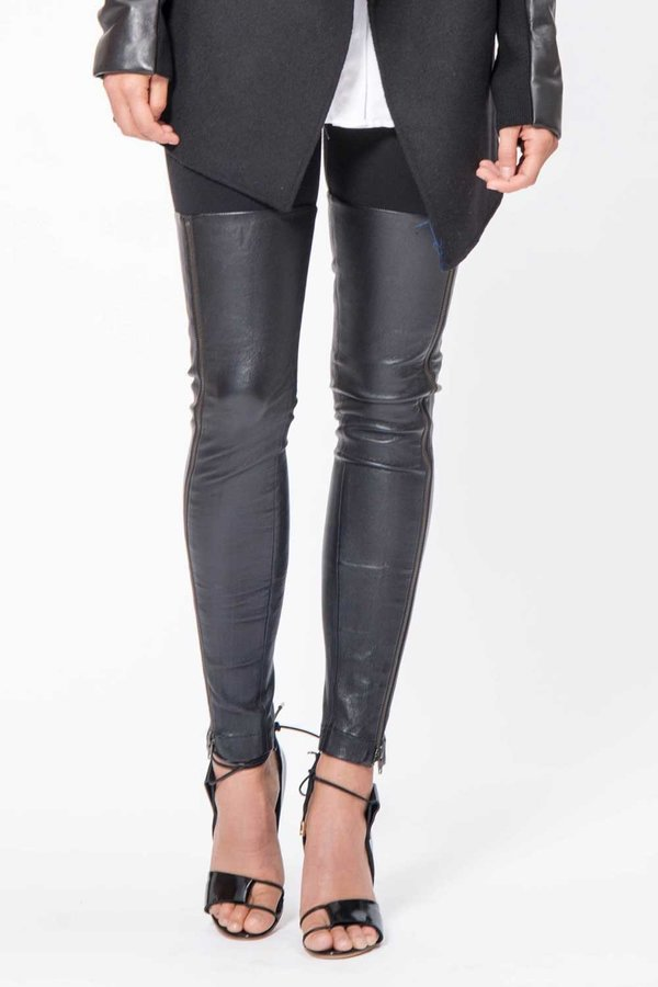 PRIMARY Thigh High Leather Legging - Black