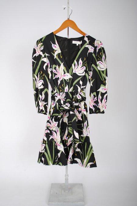 Borgo de Nor Anita Mini Dress - Black/Lily Print