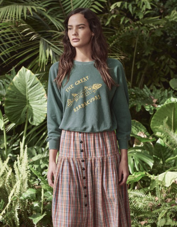 The Great. Shrunken Sweatshirt with Barracuda Graphic - Palm Leaf