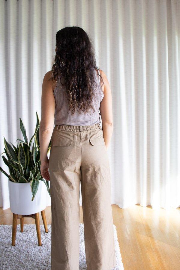Mijeong Park Elastic Waist Wide Leg Pants - Camel