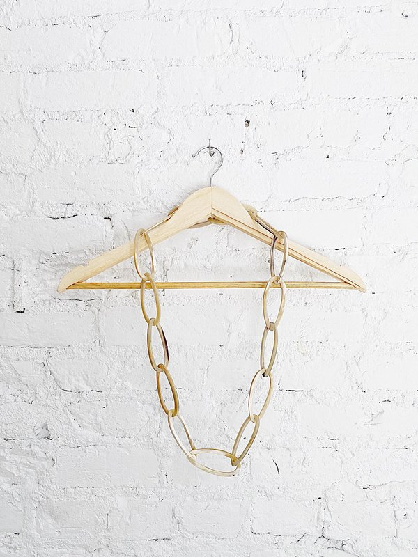CATH•S Idlewild Long Oval Horn Necklace - Beige