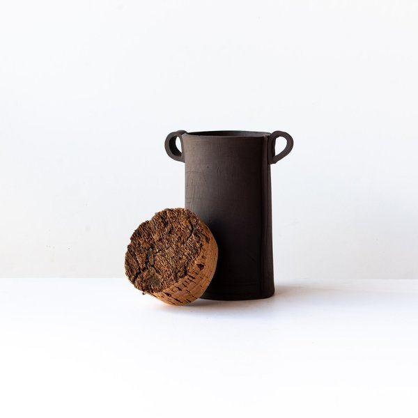 Atelier Forma Large Jars with Cork Lid - Grey Stoneware