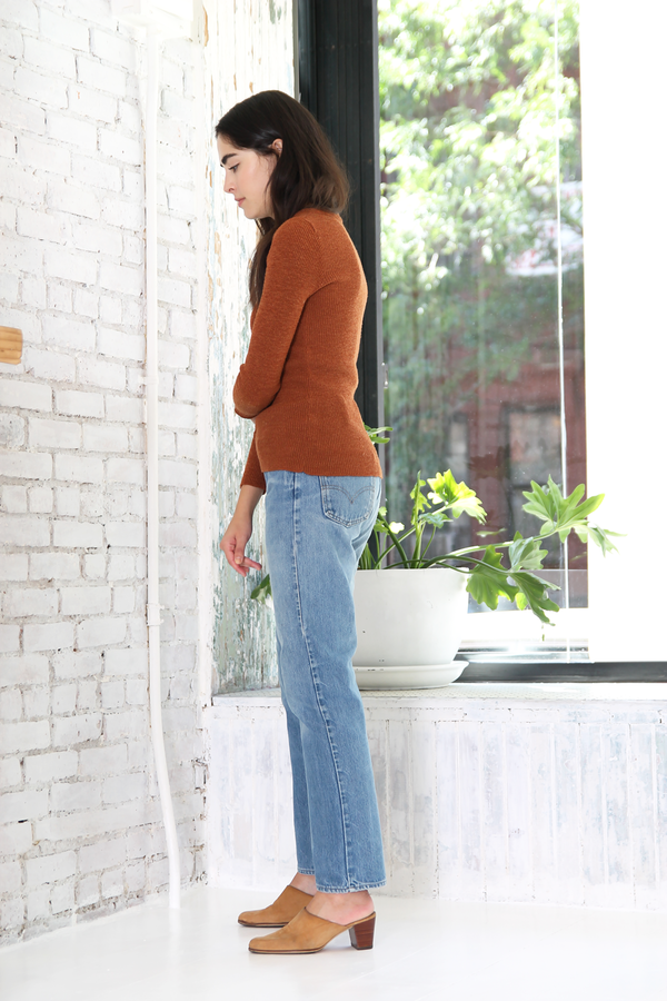 DUO NYC Vintage Ribbed Rust Sweater