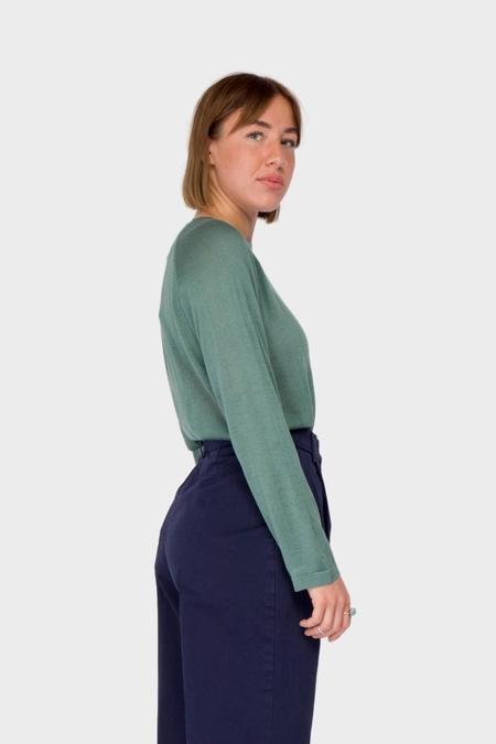 Maska Uma Silk Cashmere Top - Blue Green