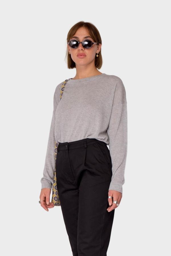 Maska Coco Silk Cashmere Top - Grey Melange