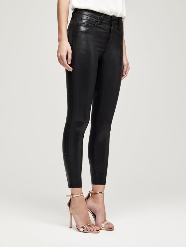 L'Agence Margot High Rise Skinny Jeans - Coated Black