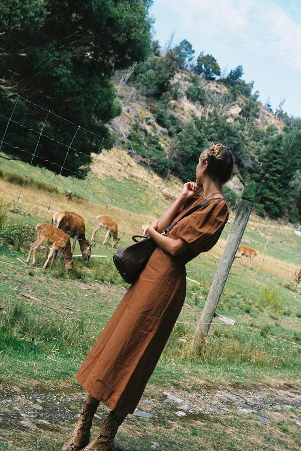 Beach Knickers Juniper Dress - Brown Stripe