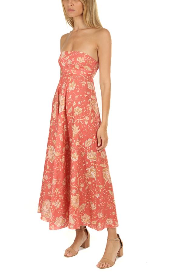 Zimmermann Veneto Strapless Long Dress - Red Paisley