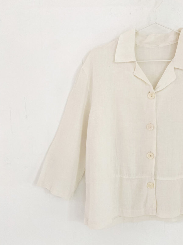 Vintage Linen Cropped Simple Shirt - White