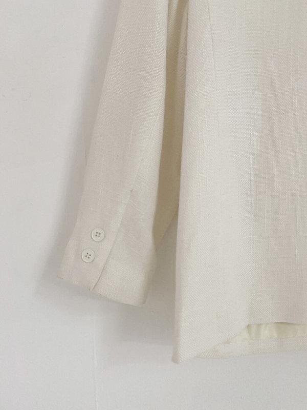Vintage Linen Structured Blazer - White