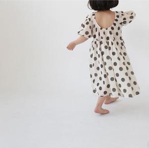 Kids Guno Dot Dress - Ivory/Black