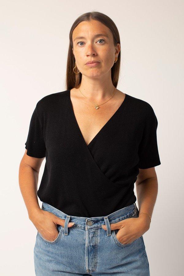 Vintage Wrap Front Knit Top - Black