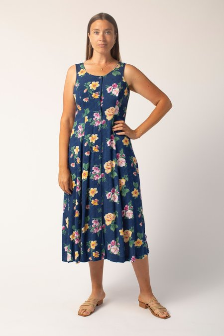 Vintage Dress - Blue Striped/Floral Print