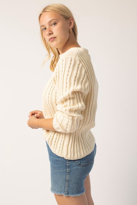 Vintage Cotton Knit Top - Cream