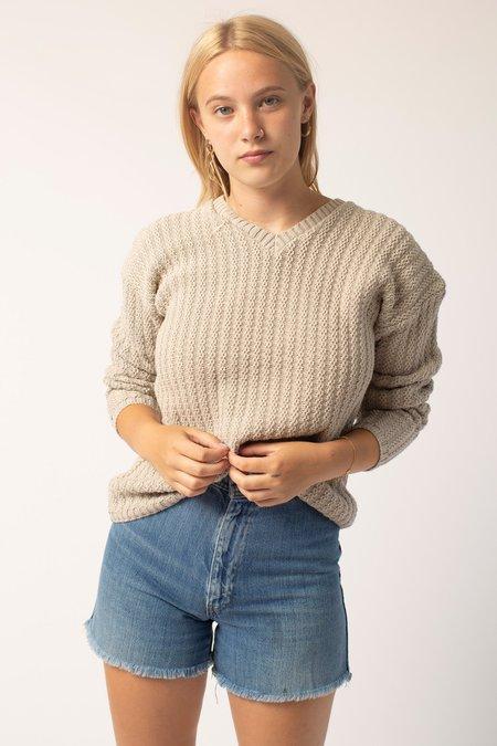 Vintage V-Neck Cotton Knit Top - Taupe