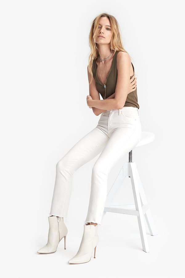 Mother Denim The Rascal Crop Fray Jeans - Cream Puffs