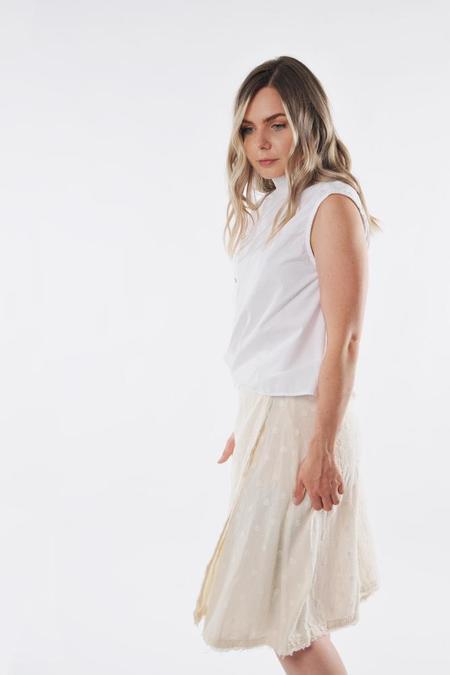 Pipsqueak Chapeau double layer Skirt - Cream swiss dot