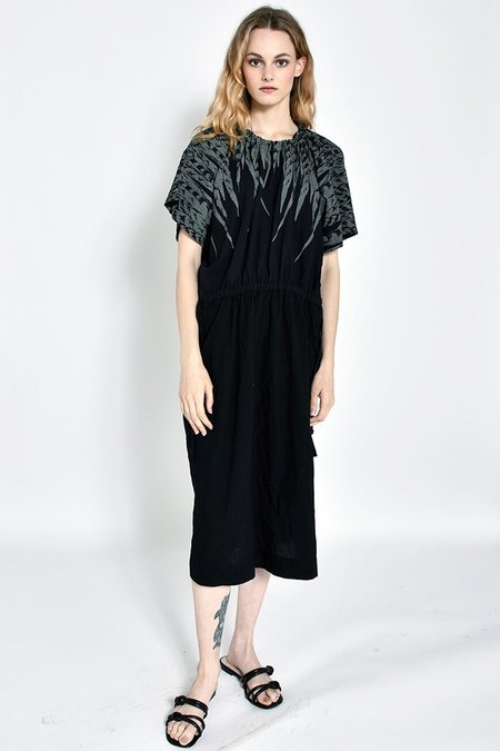 Uzi NYC Earth Dress with Feathers - Black