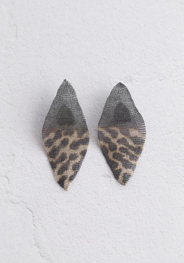 Milena Zu Dotted Woven Silver Plated Brass Earrings