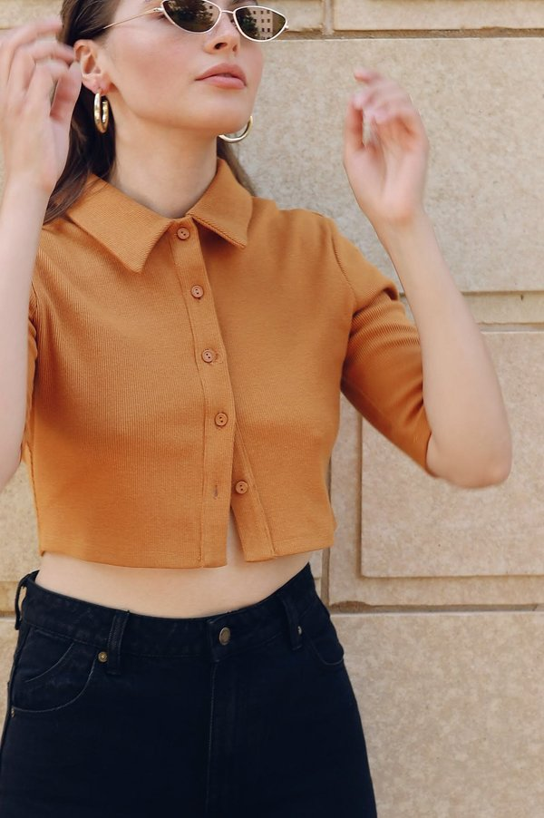 Glamorous Collared Crop Top - Ochre