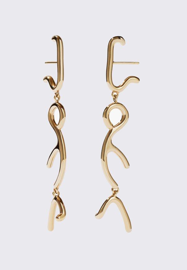 Meadowlark Sculpture Tiered Drop Earrings - 9K gold