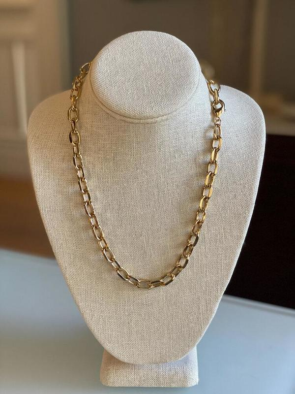 Jennifer Tuton Open Link Necklace - 24K Gold