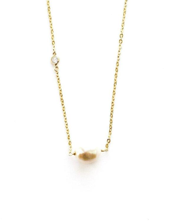 Jennifer Tuton Pearl with CZ Accent - 24K Gold