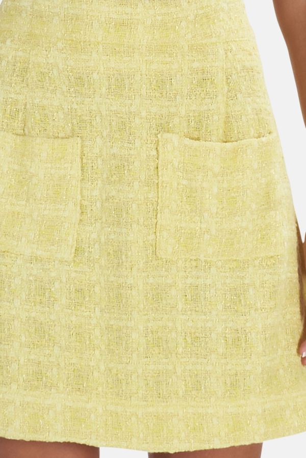 Blue&Cream Cropped Tweed Skirt - Yellow